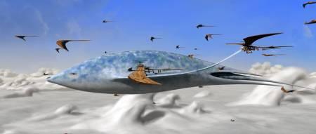 O Incrível mundo de Terra, com suas criaturas voadoras e nuvens com formas de ondas.
